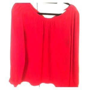 Loft Red Blouse with Bow in Back